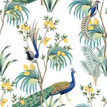 Vintage Garden Lemon Fruit Tree, Plant, Exotic Peacock, Exotic Bird Floral Seamless Pattern White Background. Exotic Chinoiserie Wallpaper.