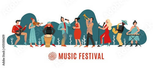 Fototapeta Music festival. International concert, musical event banner. Musicians with instruments, open air party poster. Vector festive background. Illustration event acoustic performance obraz