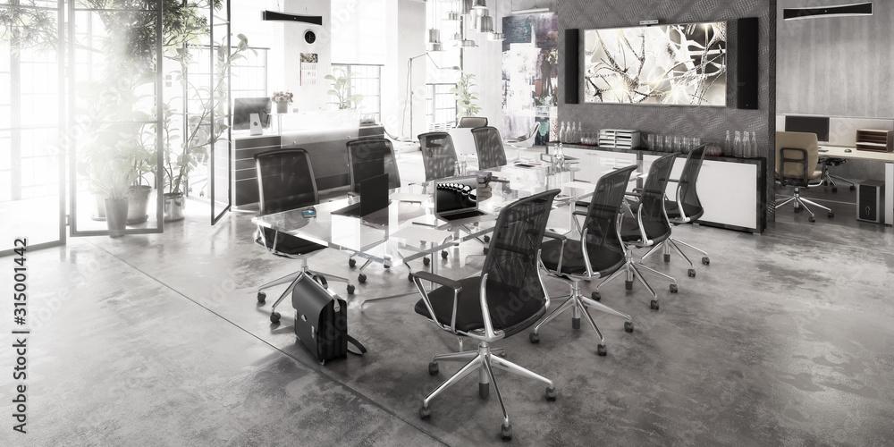 Fototapeta Contemporary Meeting Area Design - panoramic black and white 3d visualization