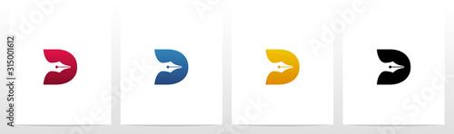 Fototapeta Pen Head On Letter Logo Design D