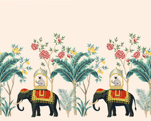 Vintage Indian Floral Palm Tre...