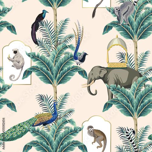 Vintage garden banana tree, exotic bird, peacock, monkey, elephant, bird,lemur floral seamless pattern pink background Wallpaper Mural