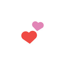 Two Hearts Flat Vector Icon. Isolated Couple Love Emoji Illustration
