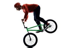 One Young Caucasian Man BMX Ri...