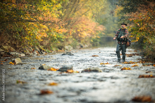 Tablou Canvas Fly fisherman fly fishing on a splendid mountain river