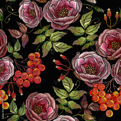 Photo Embroidery red branches of a mountain ash berry and wild roses flowers seamless pattern