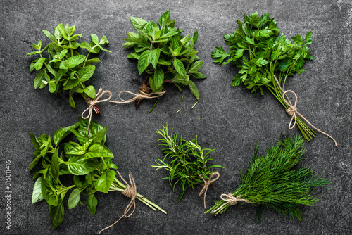 Collection of herbs, bunches of freshly harvested green herbs from the garden on Canvas Print