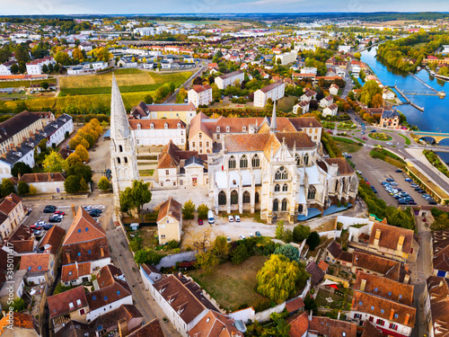 Aerial view of Auxerre with Abbey, France Canvas Print
