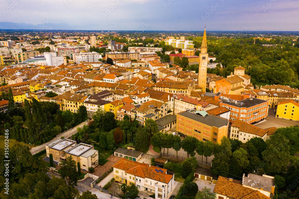 Fototapeta Picturesque top view of city Pordenone. Italy