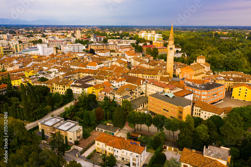 Picturesque top view of city Pordenone. Italy