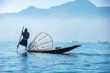 Fototapeta Orientalny Fishermen at Inle lake, Shan State, Myanmar