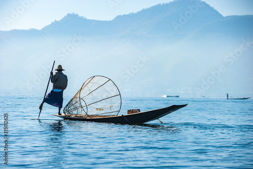 Fishermen at Inle lake, Shan State, Myanmar Canvas Print