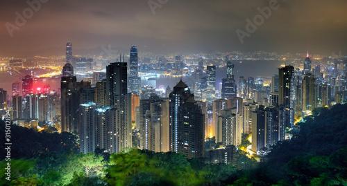 Fototapeta Hong Kong skyline at night from Victoria peak obraz