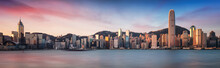 Hong Kong Skyline From Kowloon, Panorama At Sunrise, China - Asia