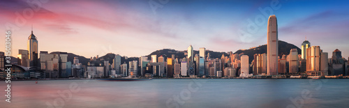 Fototapeta Hong Kong skyline from kowloon, panorama at sunrise, China - Asia obraz