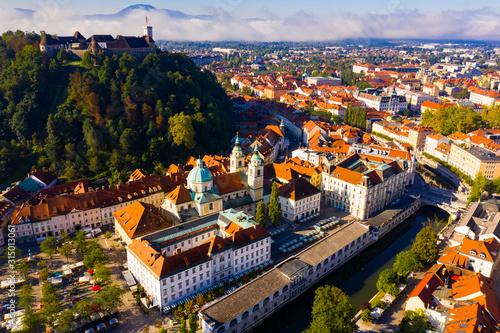 Historical center of Ljubljana with Castle Hill