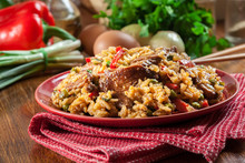 Fried Rice With Chicken And Ve...