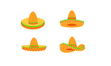 Set Of Sombrero Hat Color Logo...
