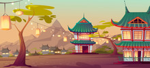 Chinese, Asian Village With Traditional Houses And Festival Lanterns On Street. Vector Cartoon Landscape With Chinese, Japanese Buildings And Mountains On Background