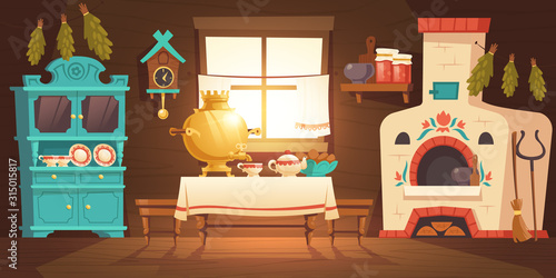Obraz Interior of old russian kitchen, ukrainian ancient rural house with oven, samovar, cuckoo-clock and grip. Vector cartoon illustration of empty wooden room with traditional russian furniture and stove - fototapety do salonu