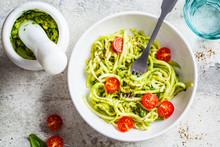 Zucchini Pasta With Pesto, Avo...