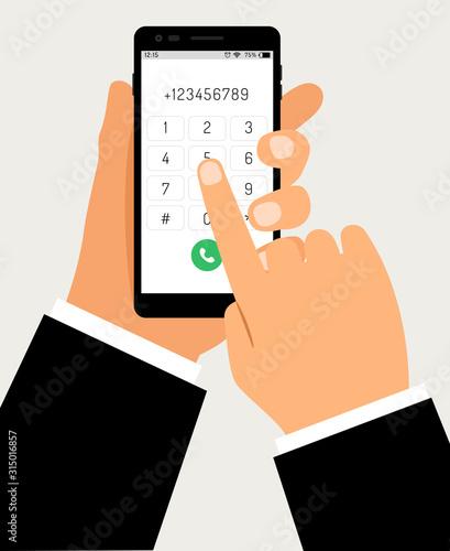 Valokuvatapetti Hands with smartphone dialing