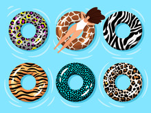 Swimming Ring Woman. Summer Time Relaxing Girl In Swimming Pool Or Blue Sea Water On Fashion Floating Tube Ring With Zebra And Leopard, Tiger And Giraffe Prints Vector Illustration