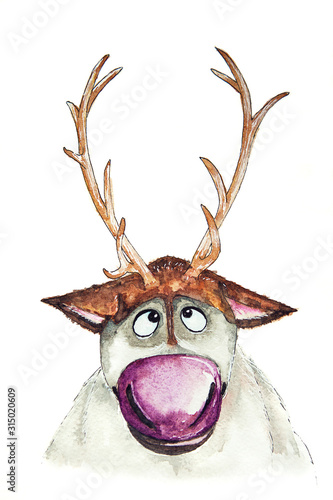 Watercolor drawing of deer Sven, character of cartoon Frozen Canvas Print