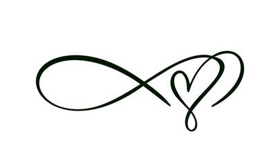 Heart love sign logo. Infinity Romantic symbol wedding. Design flourish element for valentine card. Vector banner illustration. Template for t shirt, poster