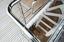 Luxury Yacht Exterior: Wooden Deck And Steps Flooring.