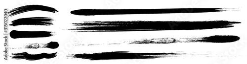 Obraz アナログタッチ素材:筆の質感 墨 インク 筆模様 波模様  - fototapety do salonu
