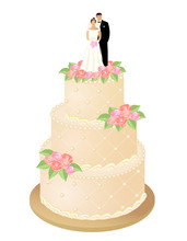Traditional Wedding Cake Decorated Cream Roses And Bride And Groom Figurines Married Couple On Top. Vector Illustration.