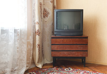 Vintage Television On Wooden Antique Closet, Old Design In A Home