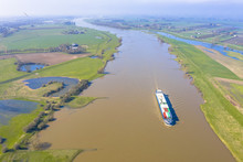 Cargo Ship River Lek Aerial View
