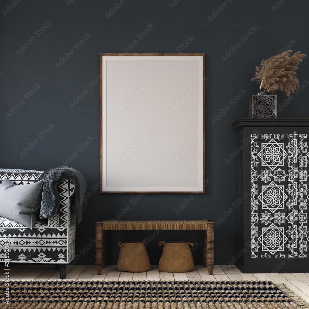 Fototapeta Mockup poster in dark home interior, ethnic style living room, 3d render