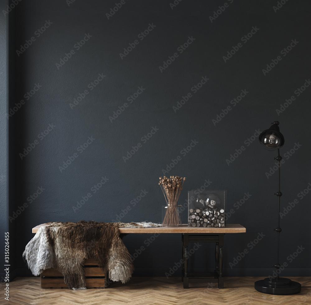 Fototapeta Dark home interior, ethnic style  living room,  3d render