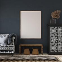 Mockup Poster In Dark Home Interior, Ethnic Style Living Room, 3d Render