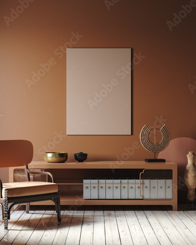 plakat Modern dark interior with commode, chair and decor in terracotta colors, 3d render