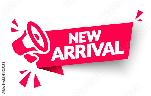 Vector Illustration New Arrival Sticker, Tag Or Banner With Megaphone Canvas Print