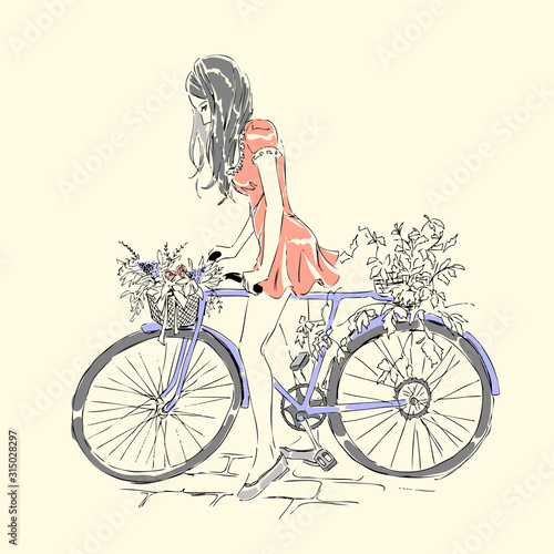 Fototapety, obrazy: Card with girl riding a bike