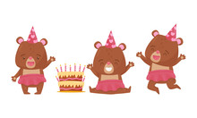 Cute Bear Female Animal Wearing Skirt Celebrating Birthday Vector Illustrations Set