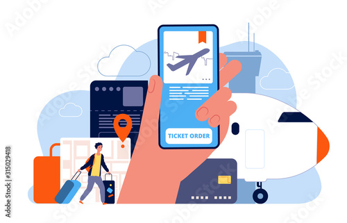 Booking tickets. Plane reservation online ordered flights service vector concept picture. Ticket service, buy with application or reservation for tourism illustration