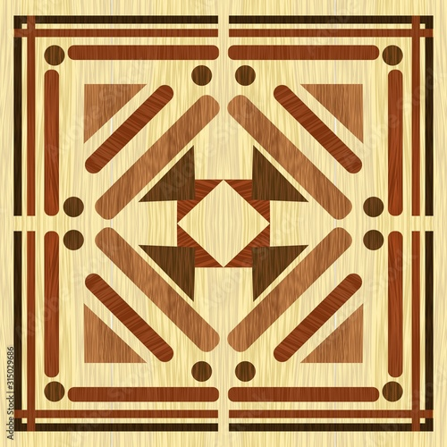 Fotografering Wooden inlay with light background, dark wooden patterns