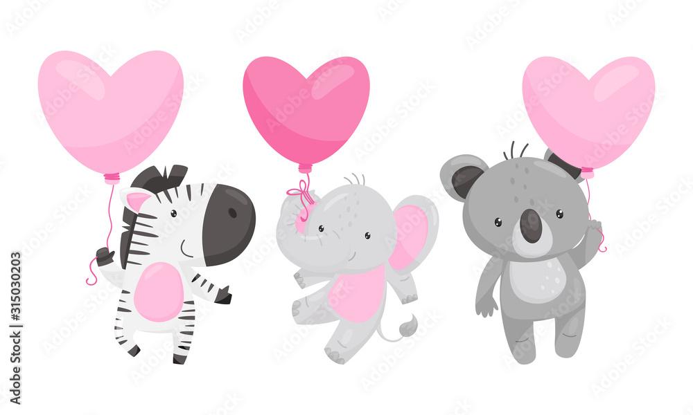 Fototapeta Cute Animals Holding Heart Shaped Pink Balloons Vector Illustrations Set