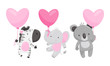 Cute Animals Holding Heart Shaped Pink Balloons Vector Illustrations Set