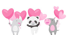 Cute Animals Holding Heart Sha...