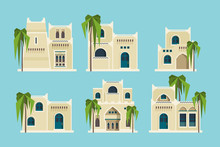 Ancient Arabic Houses. Old Traditional Muslim Brick Buildings Desert Architectural Objects Mosque Vector Flat Collection. Muslim Architectural Structure, Sandstone House Illustration
