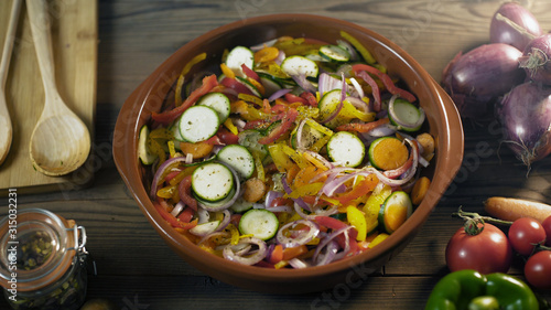Fotografie, Obraz Healthy fresh mixed vegetables in a clay pot