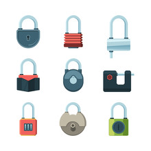 Mechanical Lock. Padlock Safety Symbols Vector Flat Pictures Set. Illustration Padlock With Password, Security Or Privacy