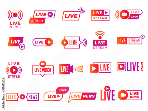 Fototapeta Live stream badges. Video broadcasting shows digital online text templates live news vector stickers collection. Illustration video stream, live streaming online obraz